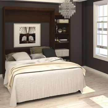 Boutique Queen Wall Bed With One 25 Open Storage Unit In Chocolate Wall Bed Modern Murphy Beds Murphy Bed Plans