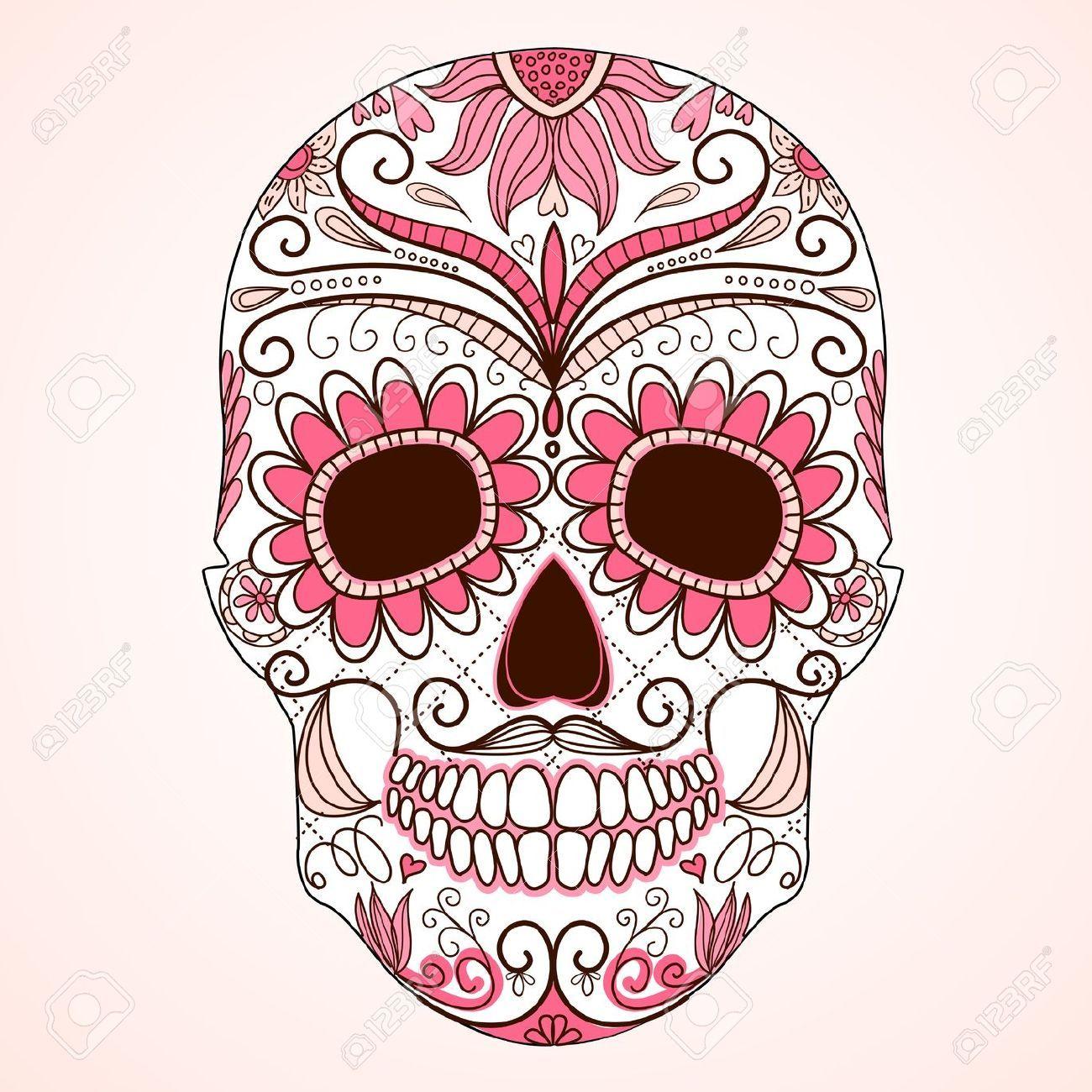 Stock Vector Sugar skull tattoos, Skull art, Sugar skull art