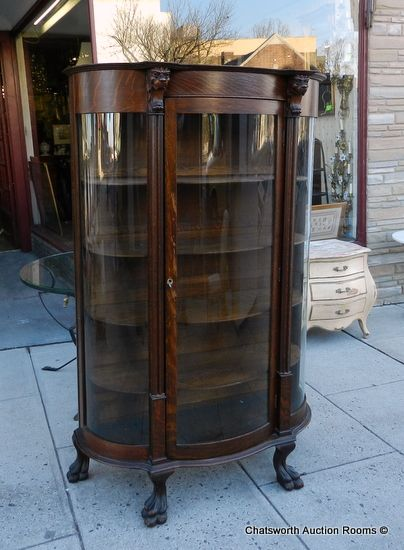Wonderful Antique Curio Cabinet Curved Glass | Antique Victorian Keystone Quartered  Oak Curved Glass Curio China .