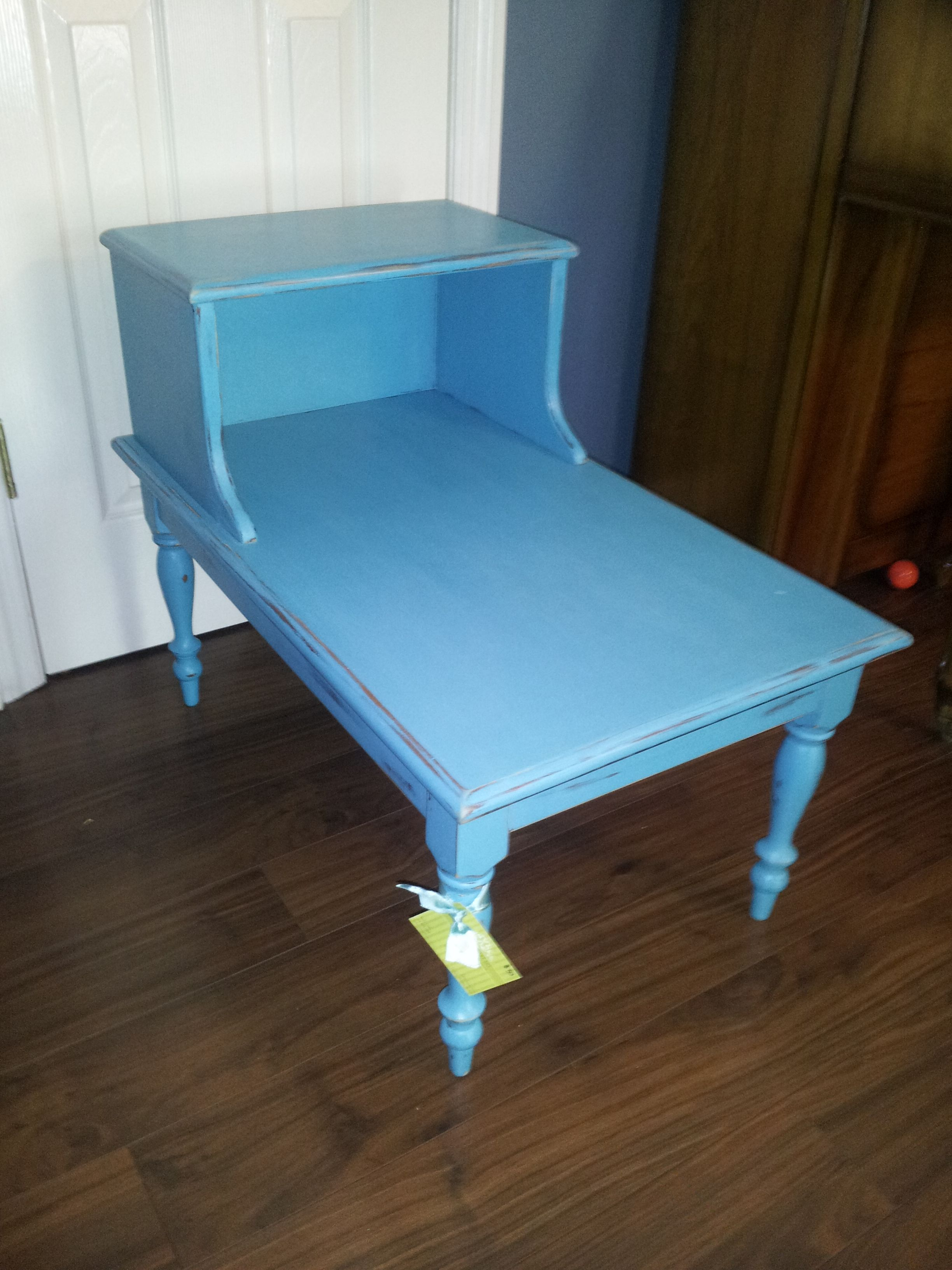 Turquoise Two Tier End Table Furniture Refinishing Homemade Chalk Paint Bless Your Heart Art Kathryncrews Com Furniture Rehab Furniture Dyi Furniture