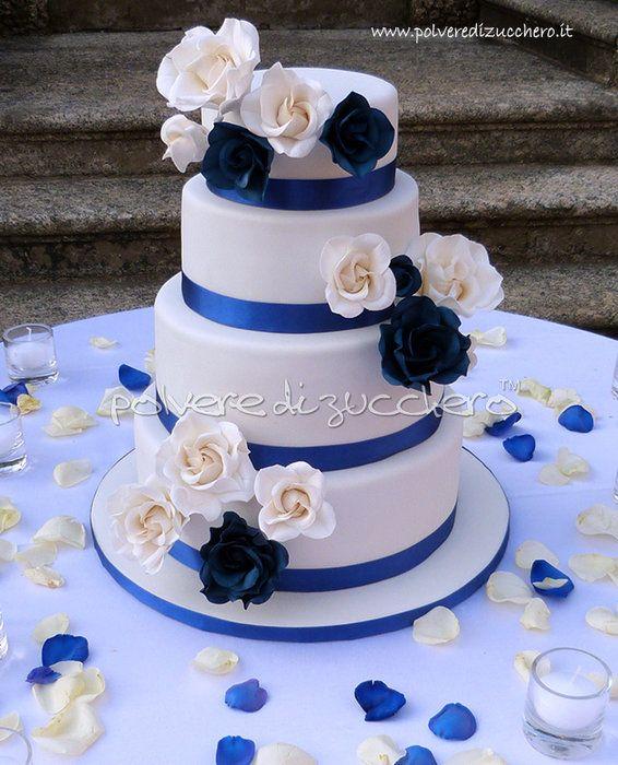 wedding cake with white roses and blue - by PolverediZucchero @ CakesDecor.com - cake decorating website