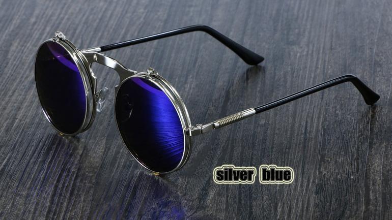 Photo of Retro Flip Circular Round Metal Sonnenbrille