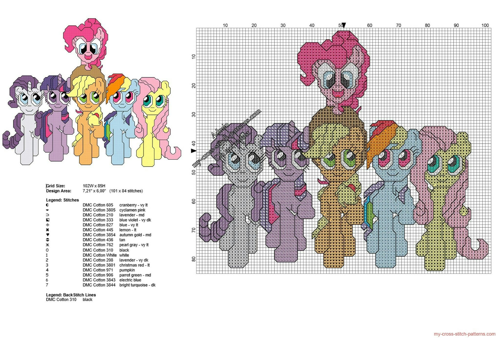 Description: All My Little Pony together free cross stitch pattern ...