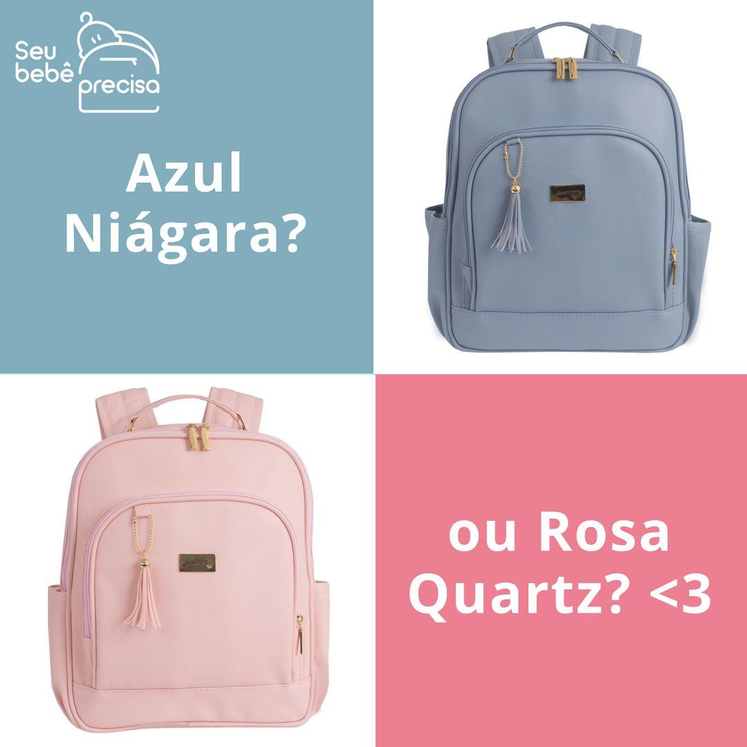 2c27d1be0f Azul Niágara ou Rosa Quartz  Conheça a mochila maternidade Just Baby Milão  Slim