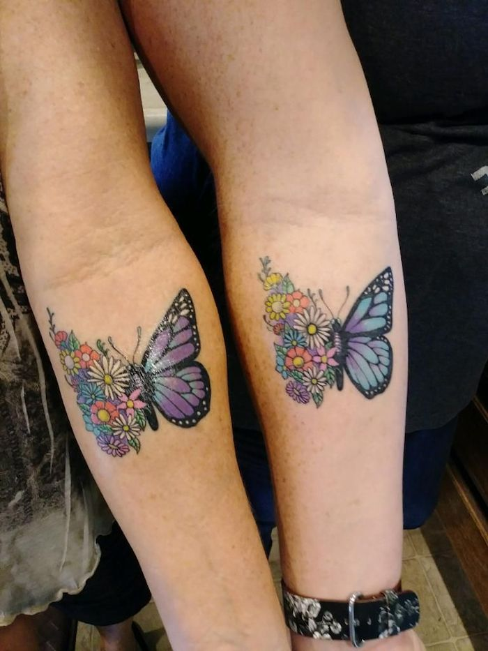 Mother Daughter Butterfly Tattoo : mother, daughter, butterfly, tattoo, Half-flowers-half-butterfly-forearm-tattoos-mother-daughter-infinity-tattoos, Tattoos, Daughters,, Daughter, Tattoos,, Friend