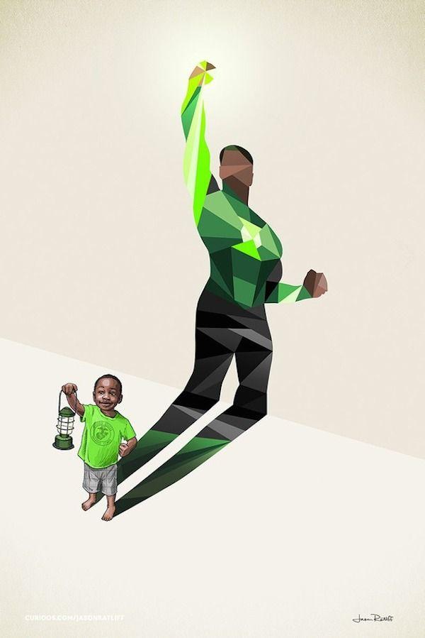Brilliant 'Superhero Shadows' Illustrations Show A Child's Limitless Imagination - DesignTAXI.com