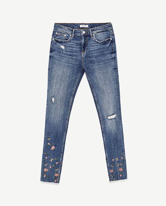 Medio Bajo Jeans Floral Zara Tiro Bordado De 8 Imagen IHq0U