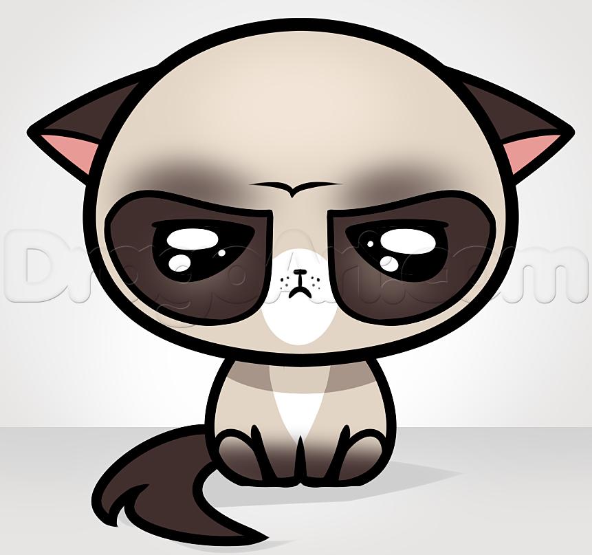 how to draw kawaii grumpy cat