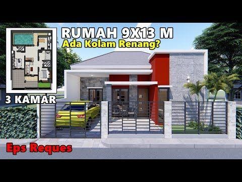 desain rumah 9x13 m dengan kolam renang dan 3 kamar tidur