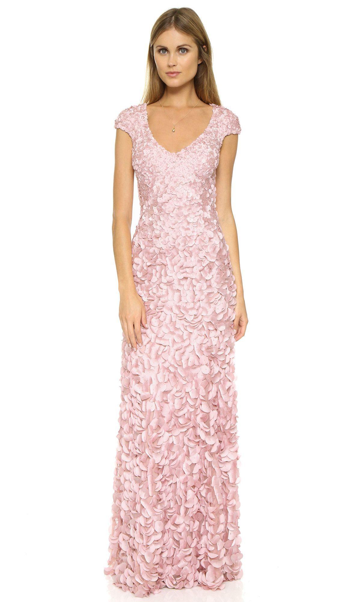 Theia V-Neck Flutter Sleeve Petal Gown - Pink