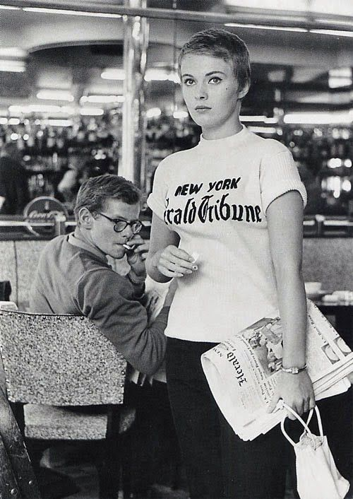 f4212e42df51 That New York Herald Tribune shirt... Jean Seberg in  Breathless ...