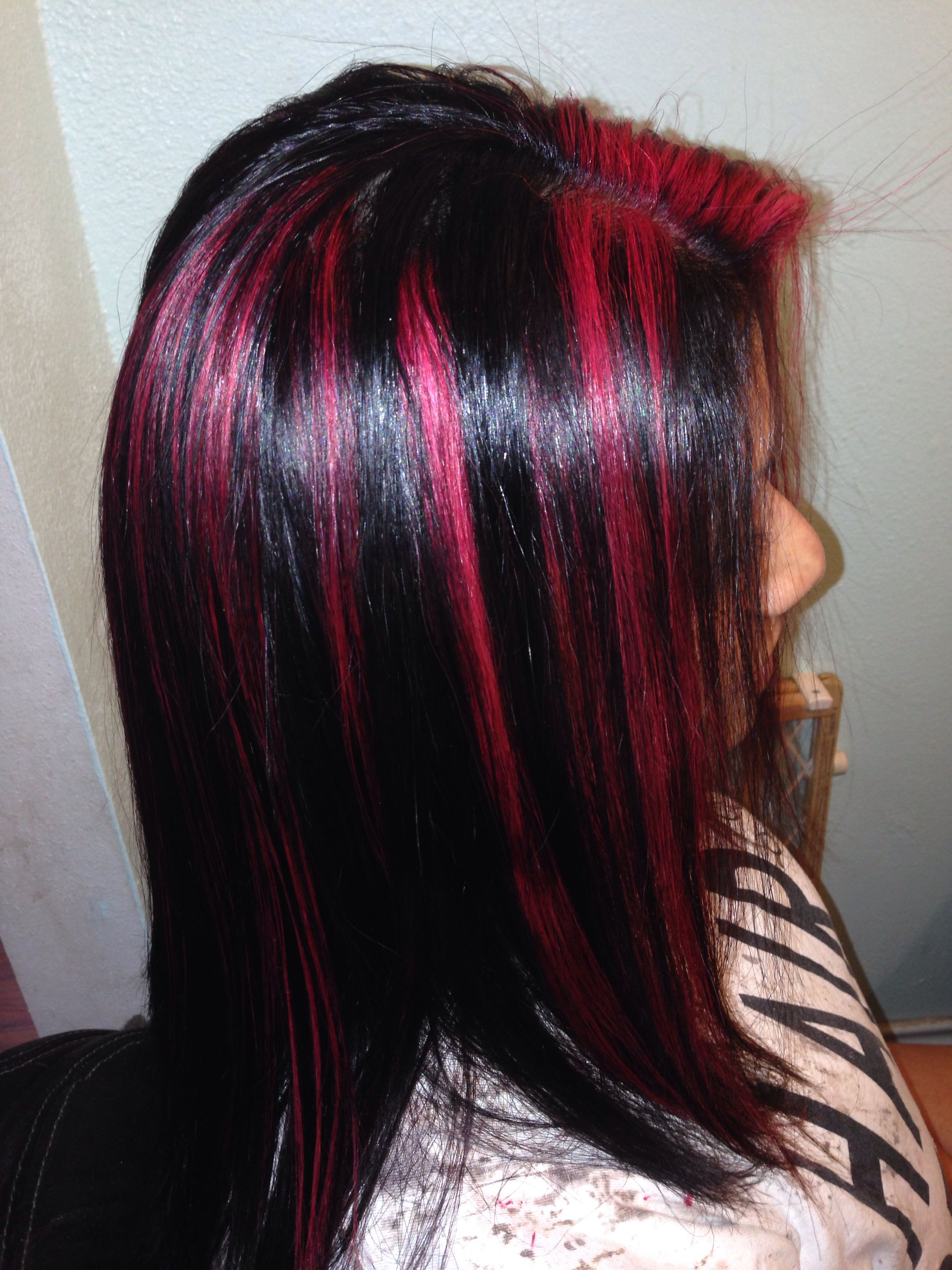 Black With Red Violet Highlights Matrix Sored Socolor In Rv Hair