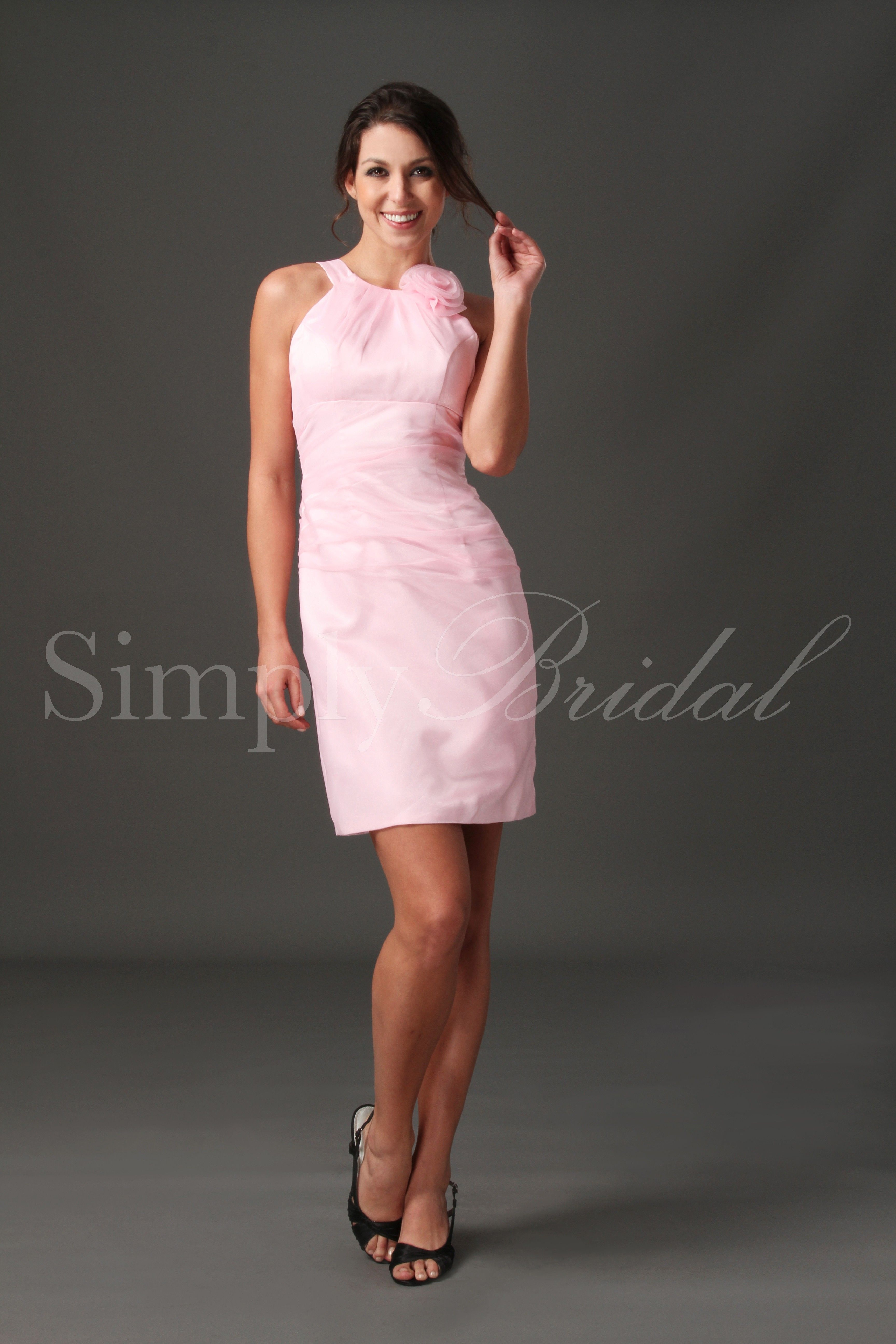 #80566 Short Organza Dress with Floral Applique-  Pretty shade of pink