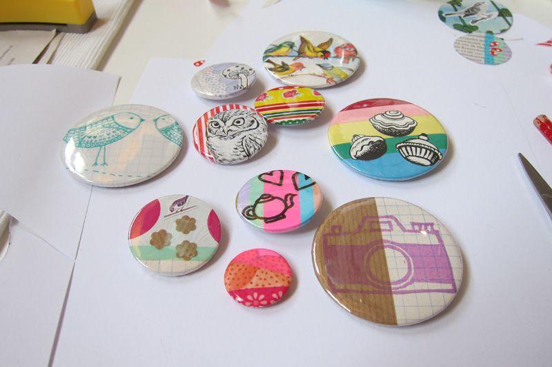 Buttons made at a workshop by Shop Elle Aime (http://www.elleaimeworkshops.blogspot.com/)
