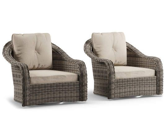 Lakewood All Weather Wicker Cushioned Swivel Glider Chairs 2 Pack