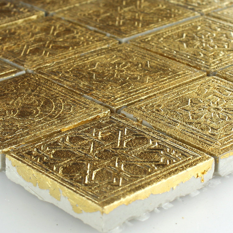 Keramik Effekt Mosaik Fliesen Gold Ornament 48x48x10mm | Mosaik ... Badezimmer Gold Mosaik