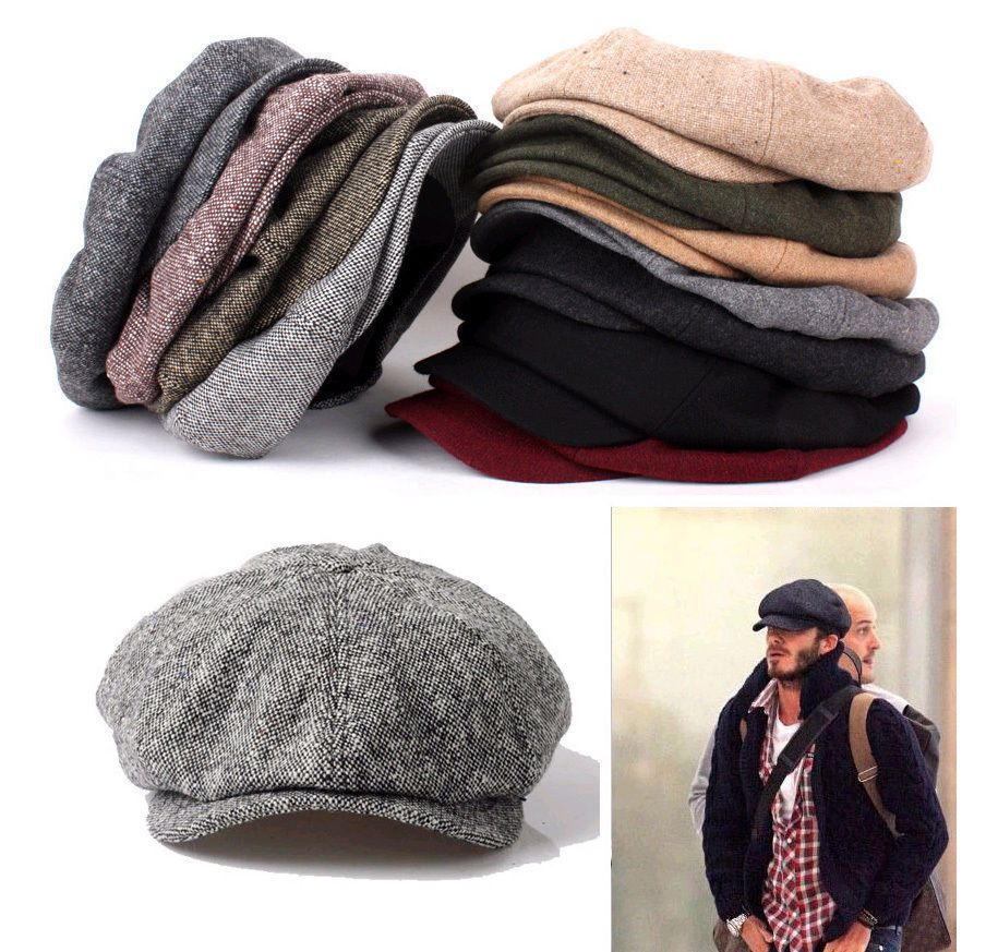 unisex mens womens tweed wool baker boy newsboy gatsby cap