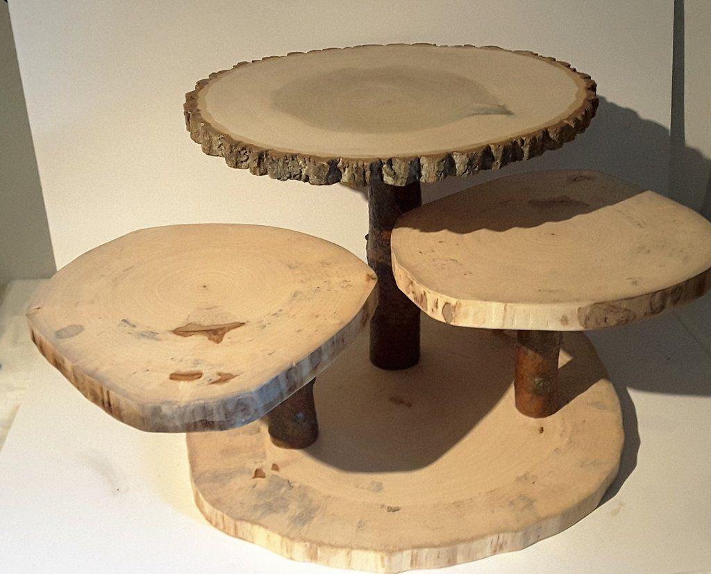 Large Rustic Cupcake Stand Wedding Cake Stand Wood Slab Display