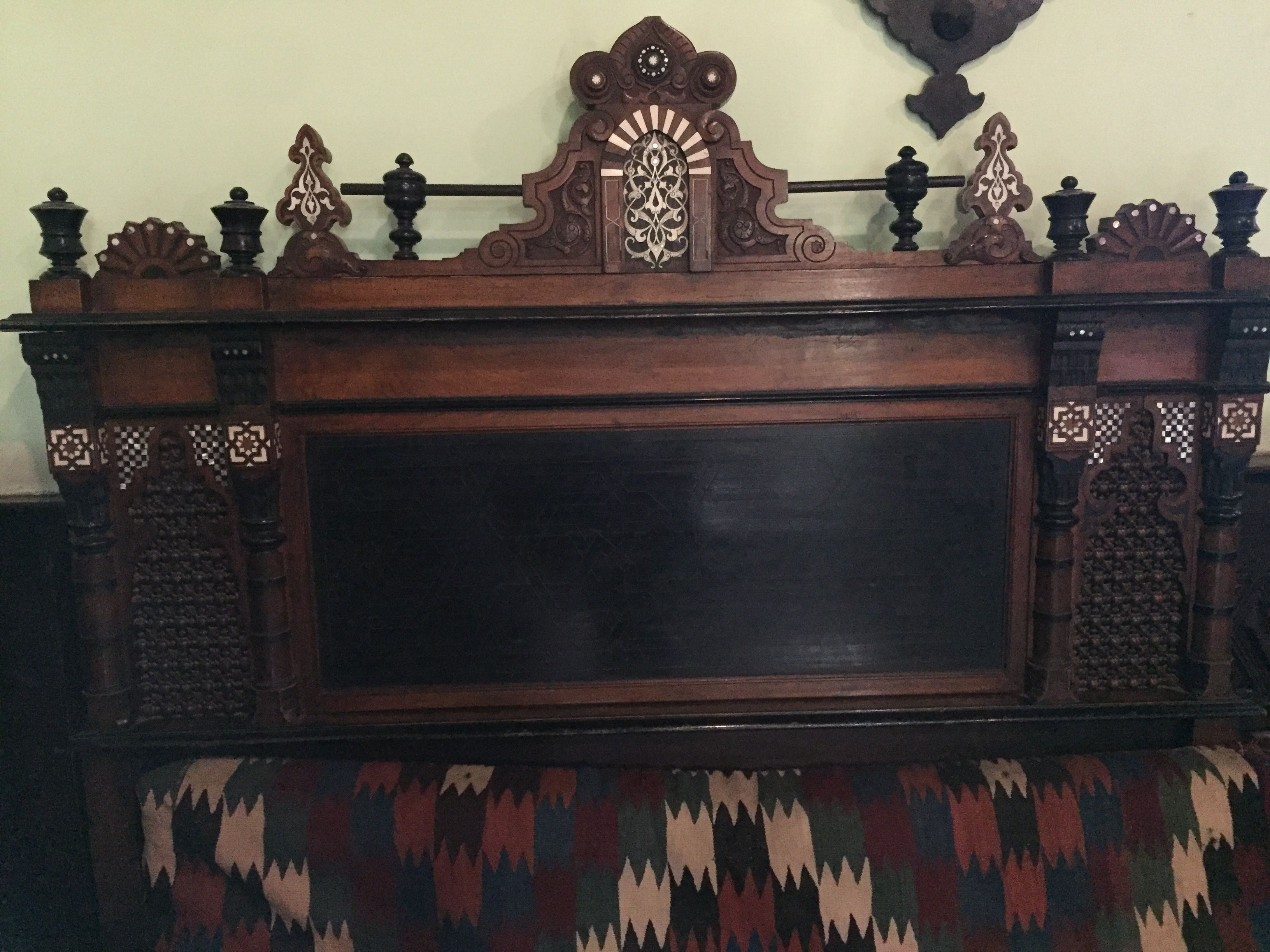 Hallway furniture gumtree  Islamic wooden back of sofa at The Manial Palace and Museum Egypt