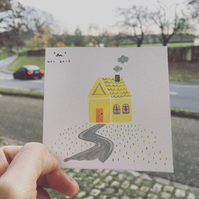 I used to draw a house like this when I was young.  #doodling #drawdaily #drawing2015 #smallpainting #artbyjvn #art_we_inspire #home #house #tinypainting #doodle