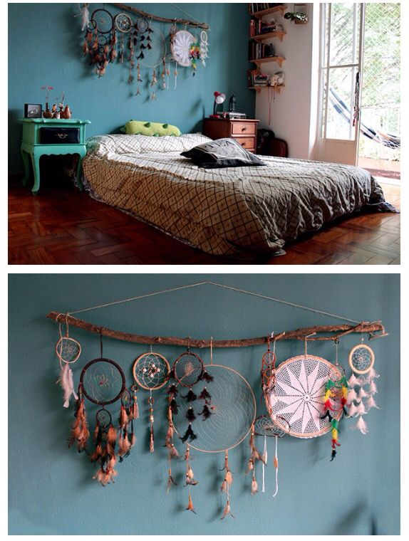 Dream catcher decor over bed or headboard , bohemian hype