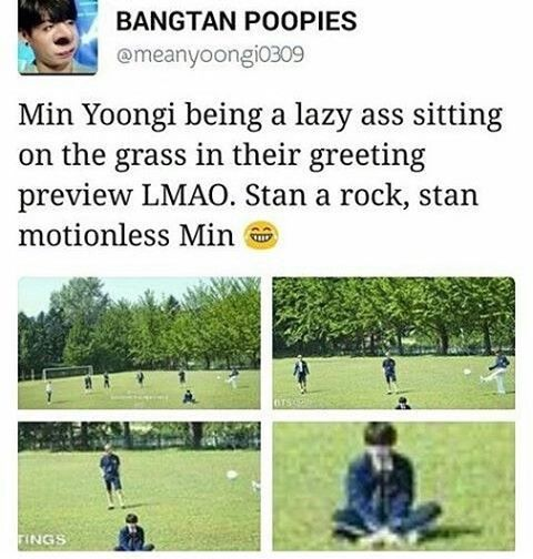 Of course whilst other members are playing soccer suga is