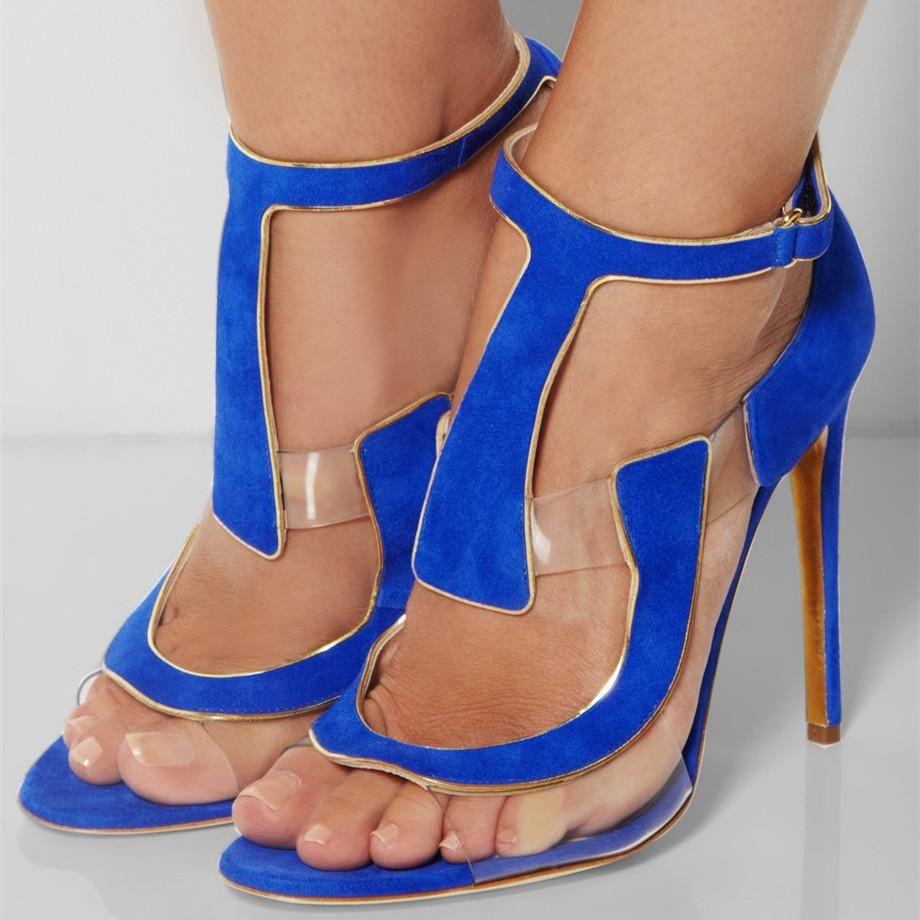 41129b2df9c  FSJshoes -  FSJ Shoes Women s Blue Open Toe Stiletto Heels T Strap Sandals  -
