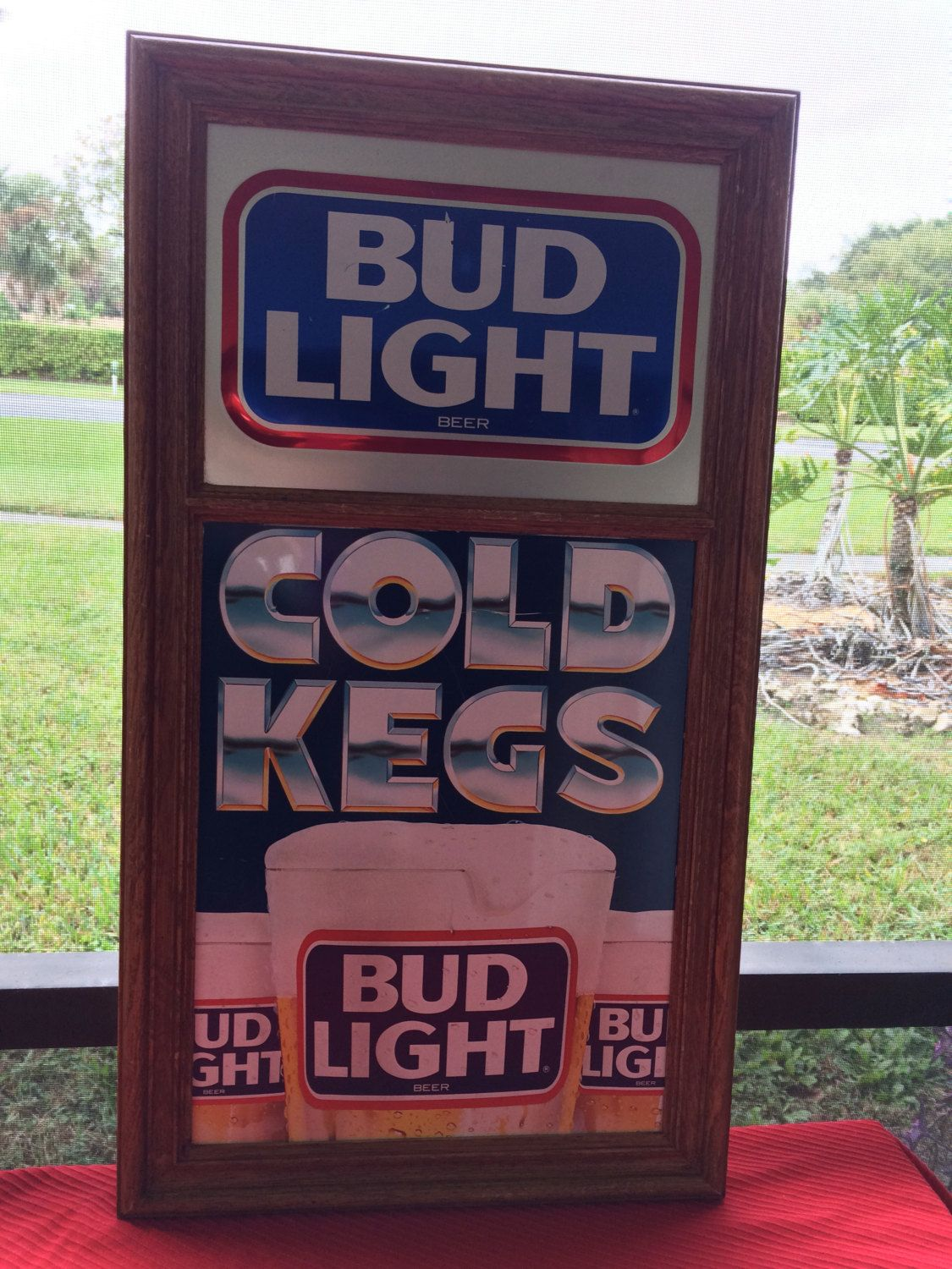 Vintage Advertising Sign Bud Light Beer Cold Kegs Hard Plastic Wood Grained  Divided Frame By AntiqueCarla On Etsy
