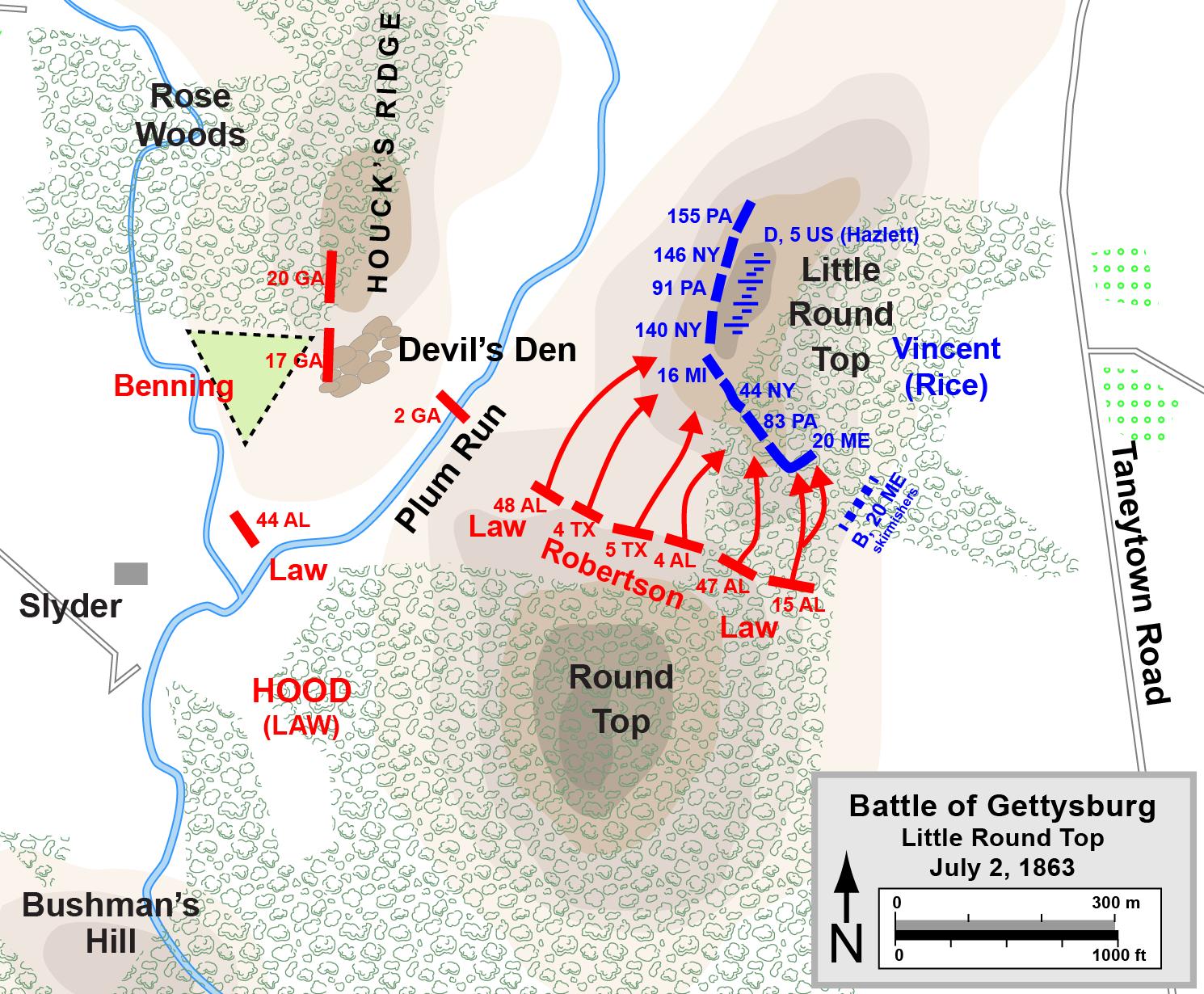 Map Of Little Round Top Battle Of Gettysburg Of The American - Battle of gettysburg map us