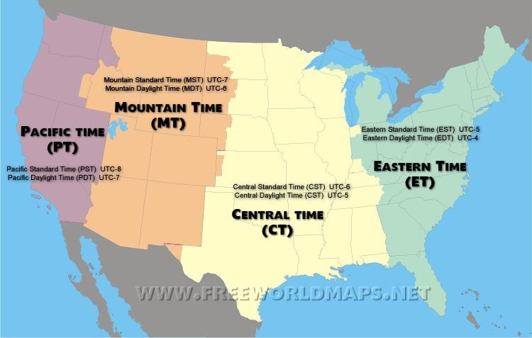 US time zone map Maps and