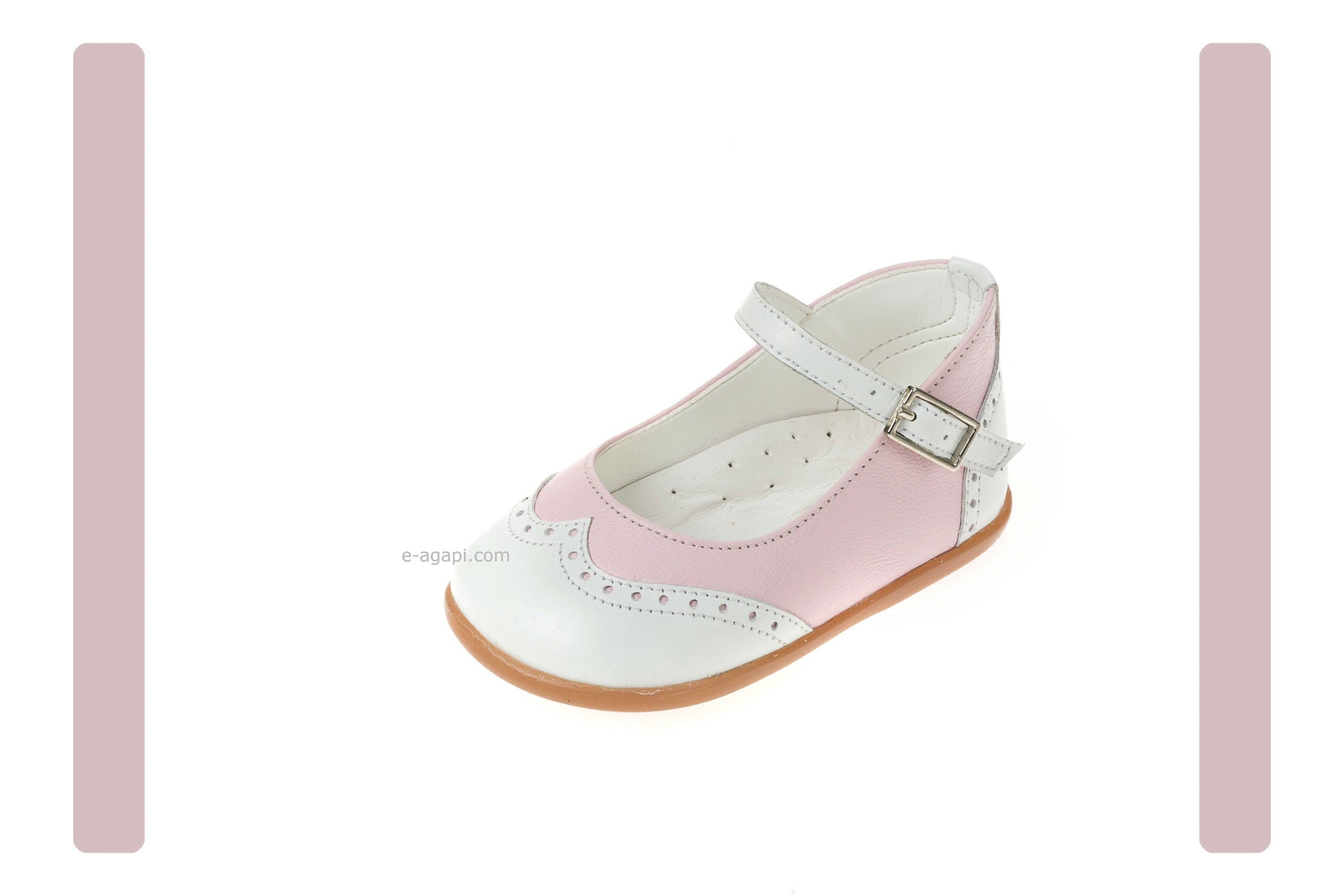 Wingtips shoes Leather baby girl shoes Pink White Kids shoes First
