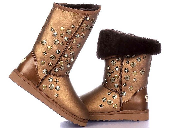 Jimmy Choo Uggs 5839 Women's Tall Metallic Boots Gold