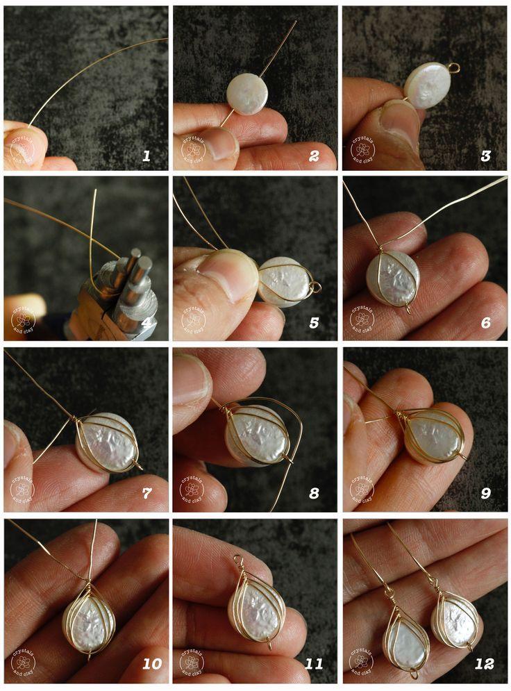 how to make herringbone weave wire wrapped earrings