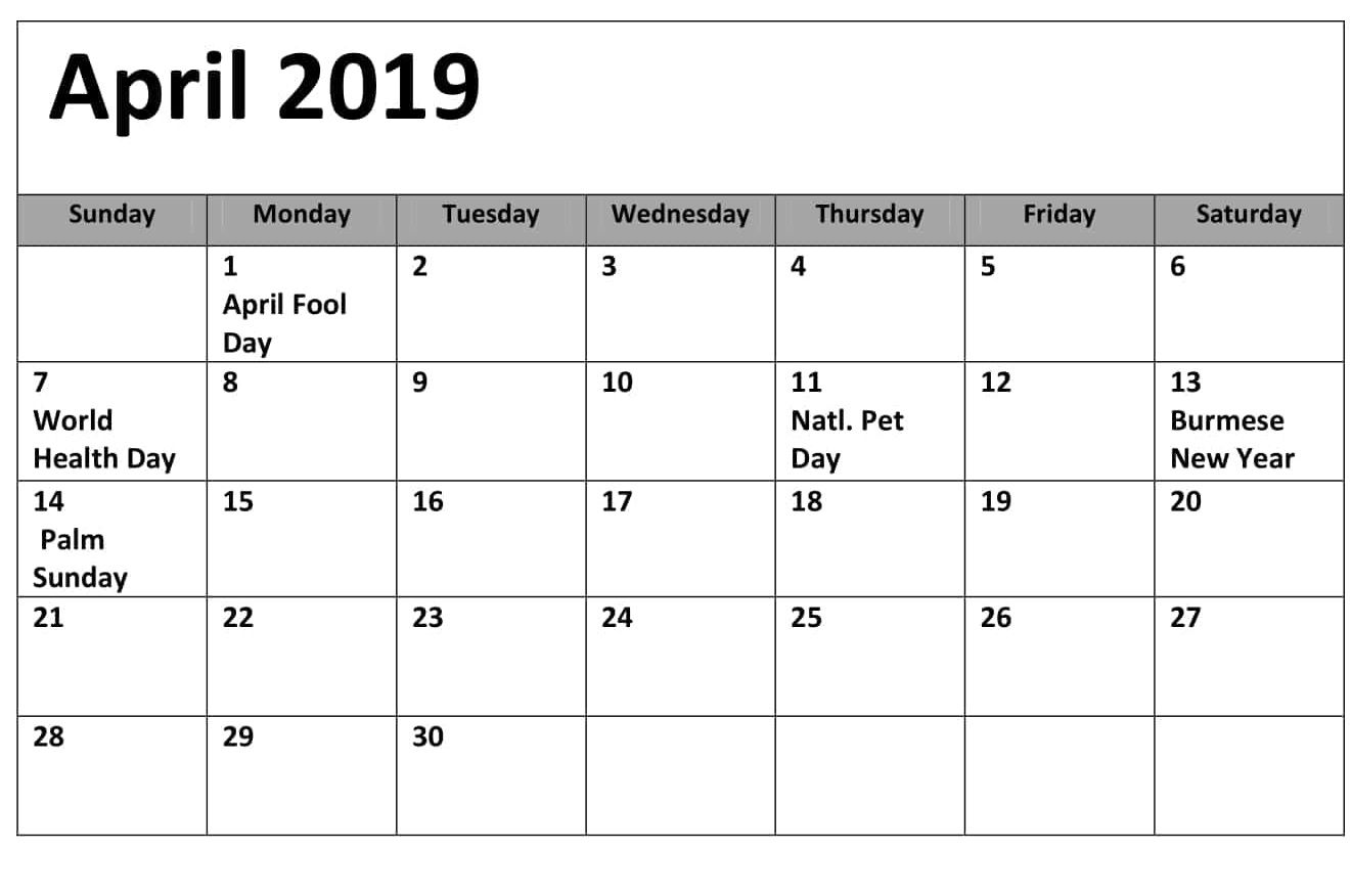 April 2019 Calendar With Holidays Canada 100 April 2019