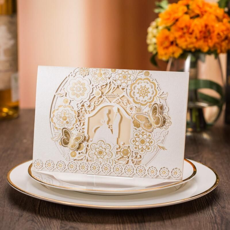 keralwedding card wordings in english%0A Butterfly and Flowers Design Paper Wedding Invitations White Invitation  Cards with Insert Paper Blank Card Envelope