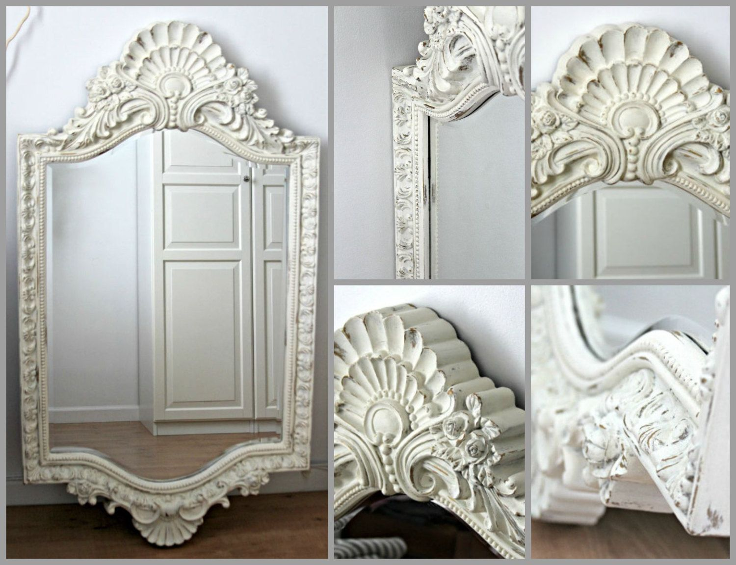 Shabby Chic Bedroom Mirror White Framed Mirrorlarge Mirrorshabby Chic Mirrorwhite Wall