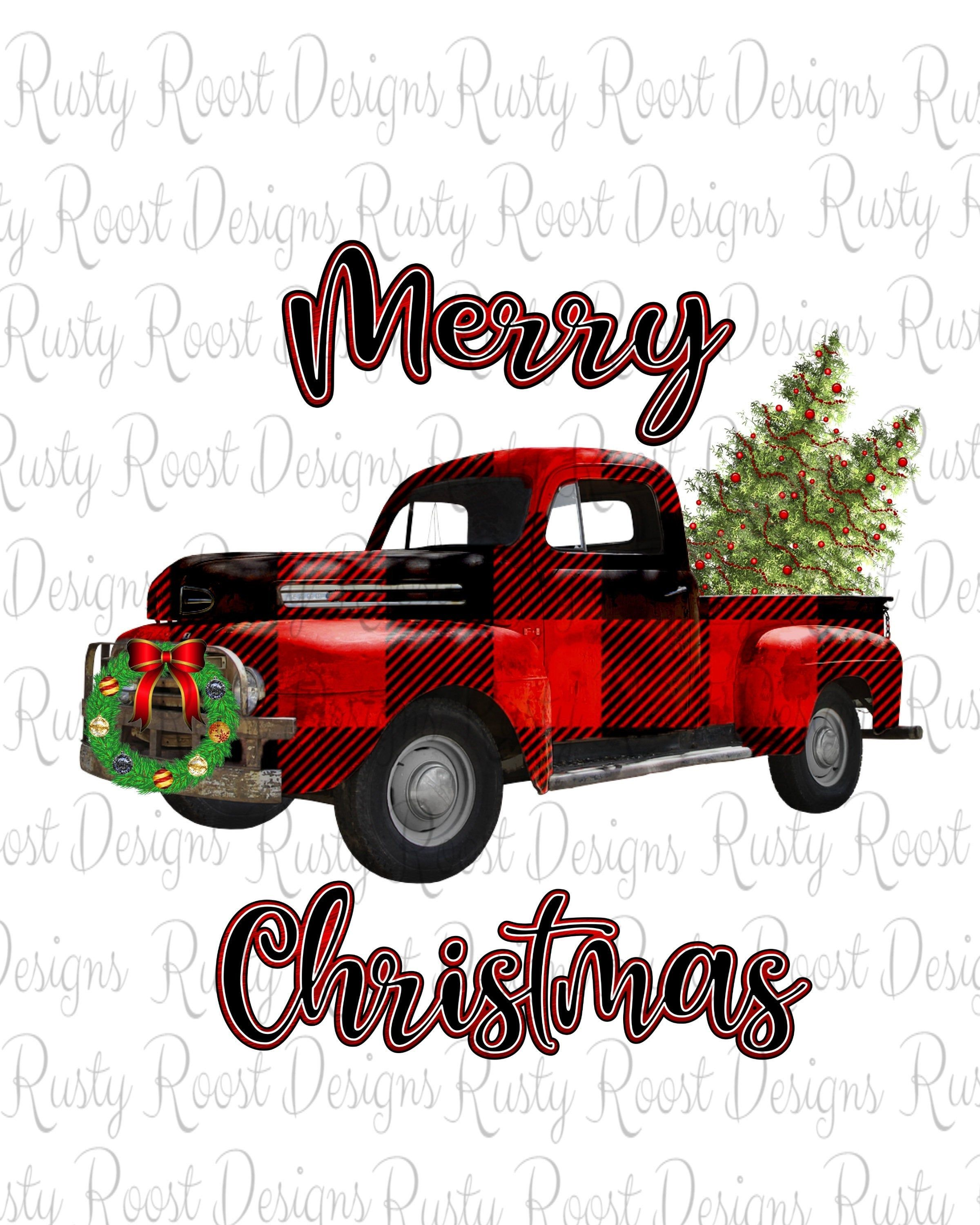 Merry Christmas Buffalo Plaid Truck Png Christmas Sublimation