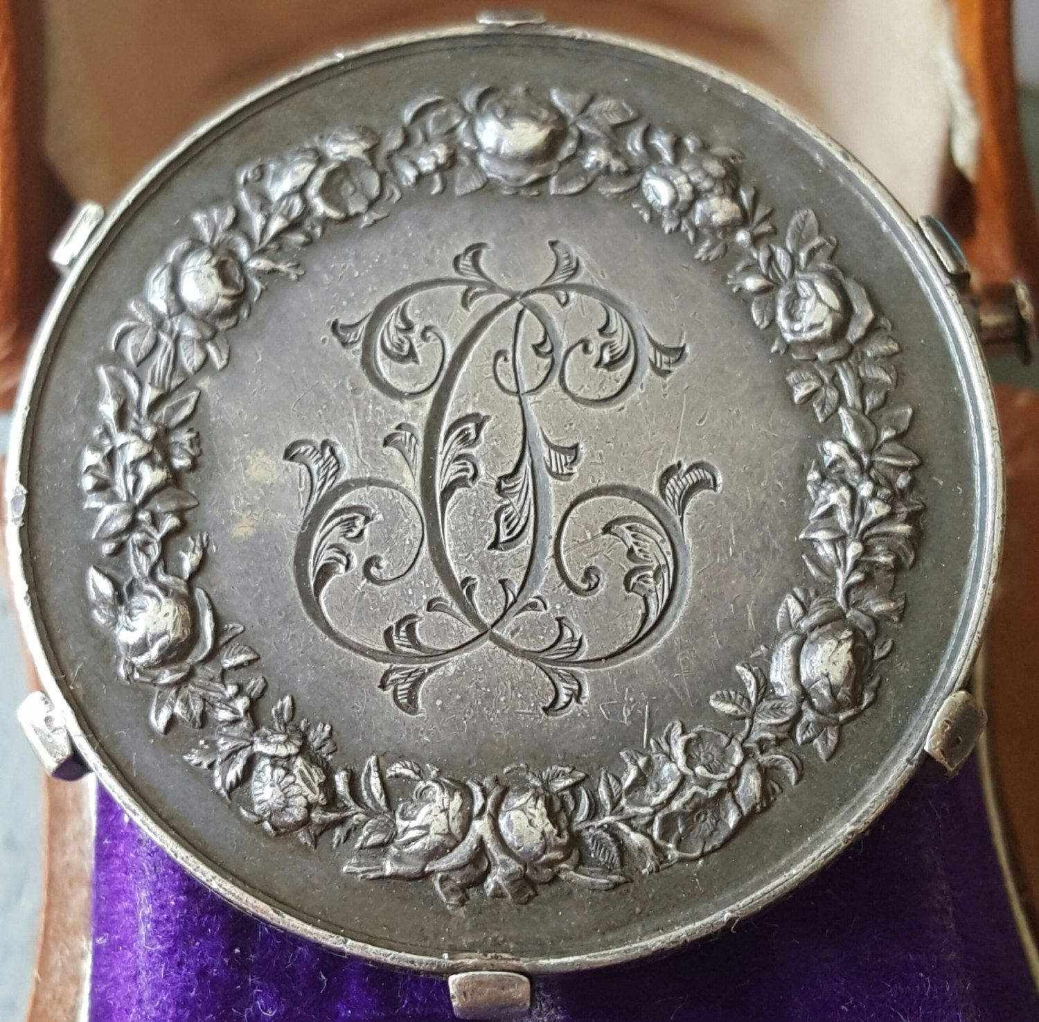French Wedding Gifts: Antique Engraved French Art Nouveau Silver Marriage Medal