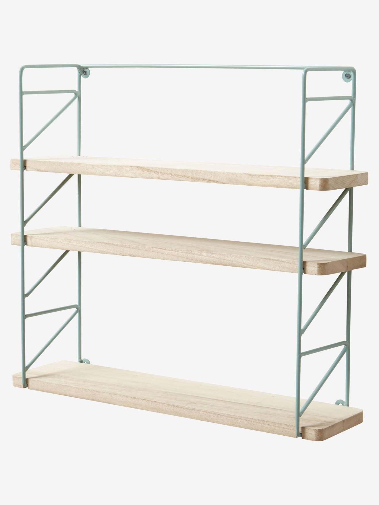 Metal Wood 3 Level Shelving System Green Bedroom Furniture