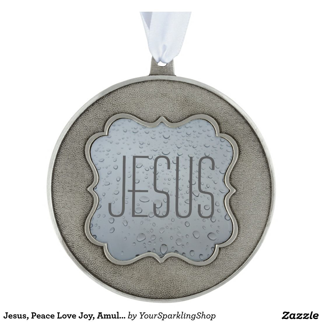 #Jesus, Peace Love Joy, Amulet Talisman Ornament Round Pewter #Christmas Ornament