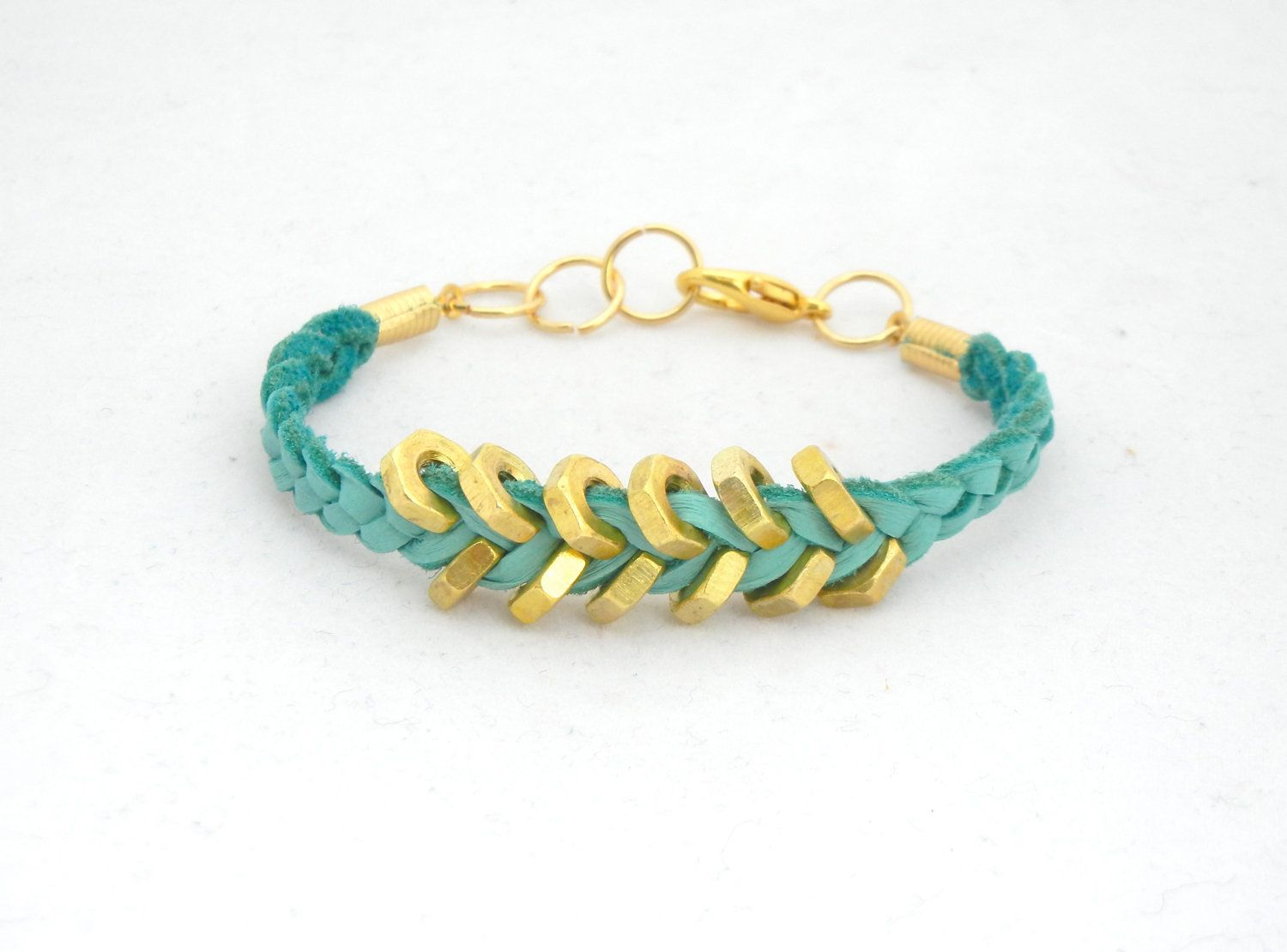 Teal Suede Leather Bracelet with Gold Hex Nut by thepinkruffle, $12.00