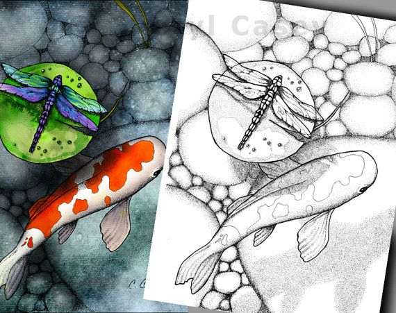 Coloring Pages Pond Animals : Printable coloring page koi fish pond with dragonfly on lily pad