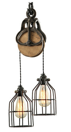Curie Barn Pulley Pendant Light Wood And Steel Httpwwwhouzzcom - Kitchen light fixtures houzz
