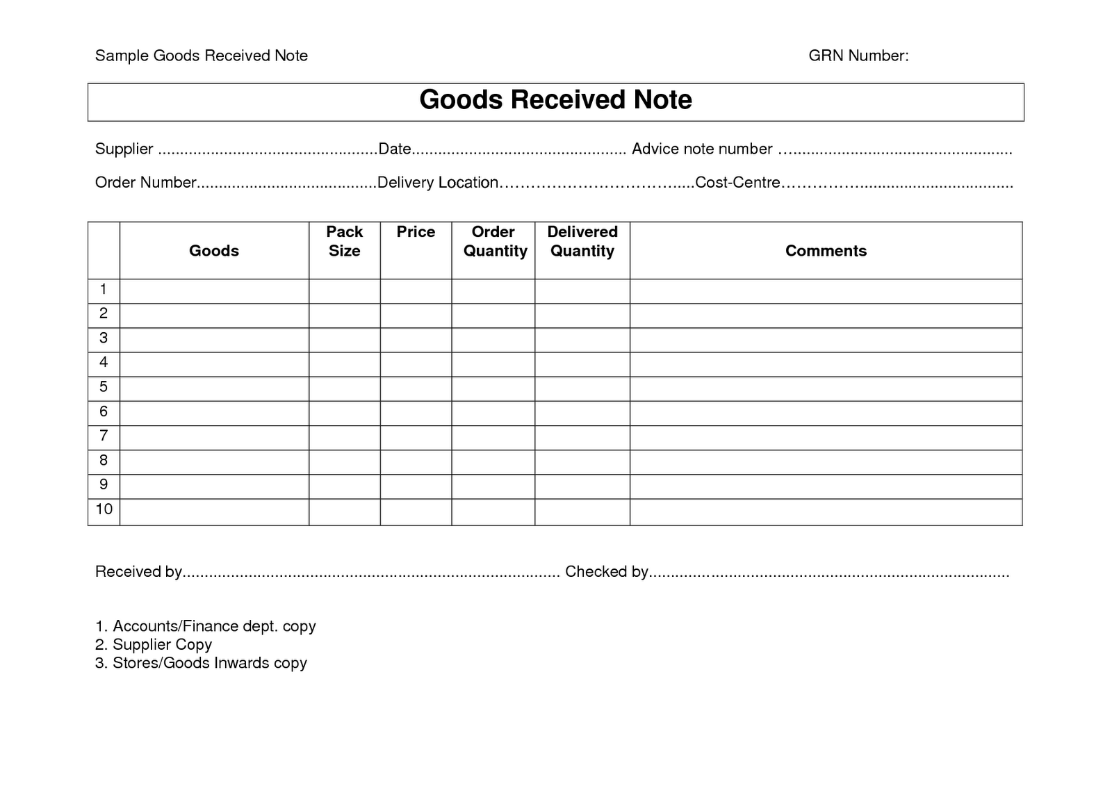 standard shipping note template - image result for goods received note format download