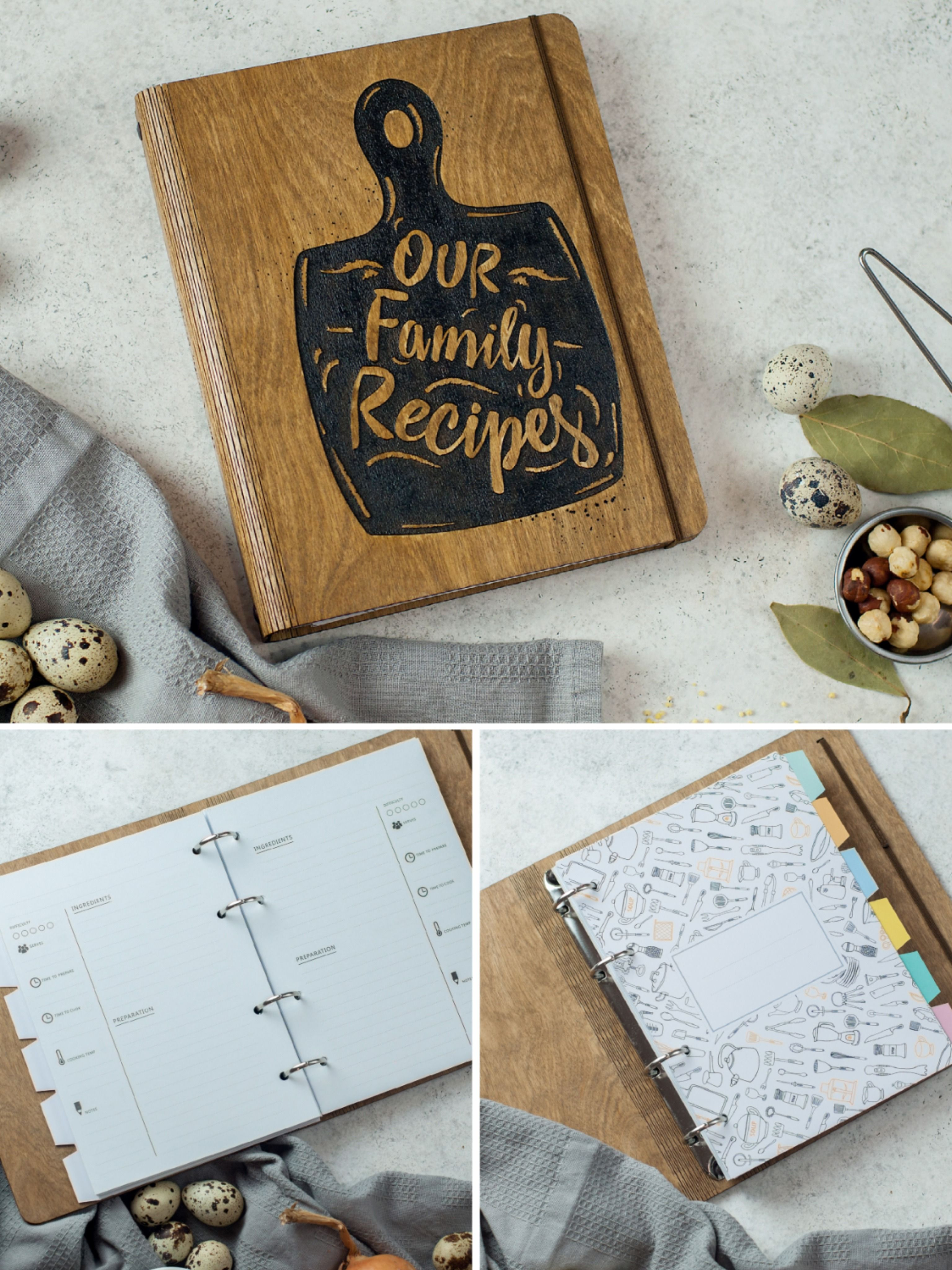 Housewarming Gift Family Recipe Book With Dividers Custom Etsy Family Recipe Book Recipe Book Covers Recipe Book