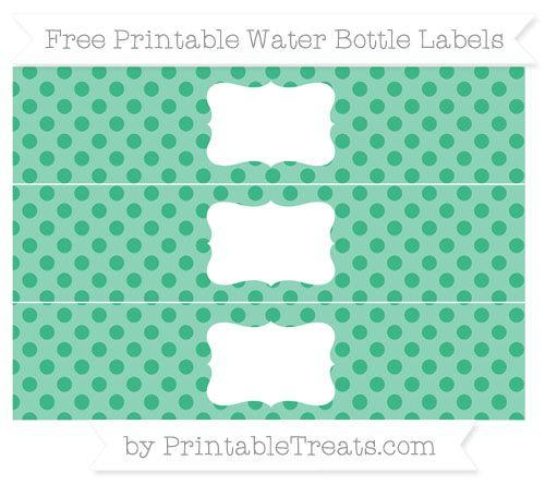 Free Mint Green Polka Dot Water Bottle Labels Keretek, címkék