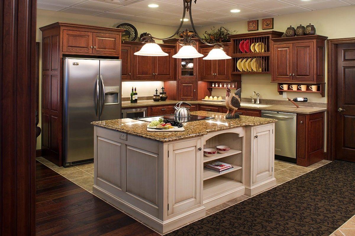 natural cherry white island, tile floor Kitchen