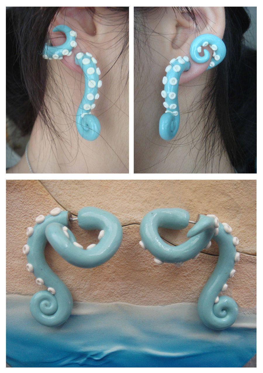 Beachy Fake Gauge Wraparound Tentacle Earrings By ~kittyazura On Deviantart