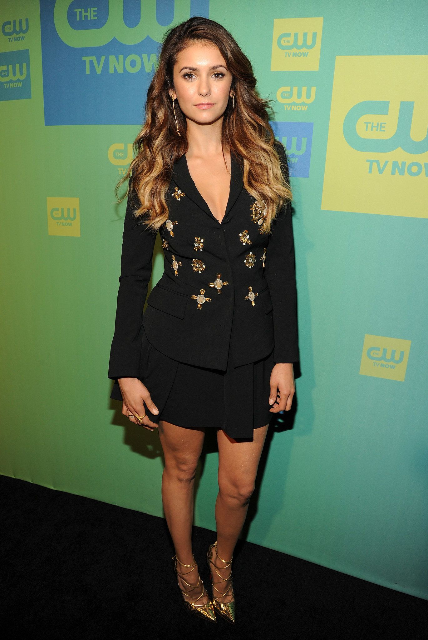 Nina dobrev at the cw upfronts in nyc celebrities pinterest
