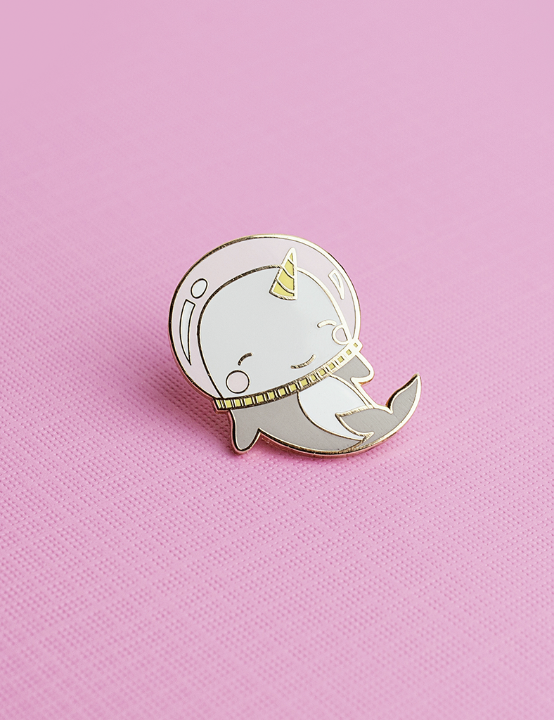 On Our Branded Card. Narwhal Enamel pin badge